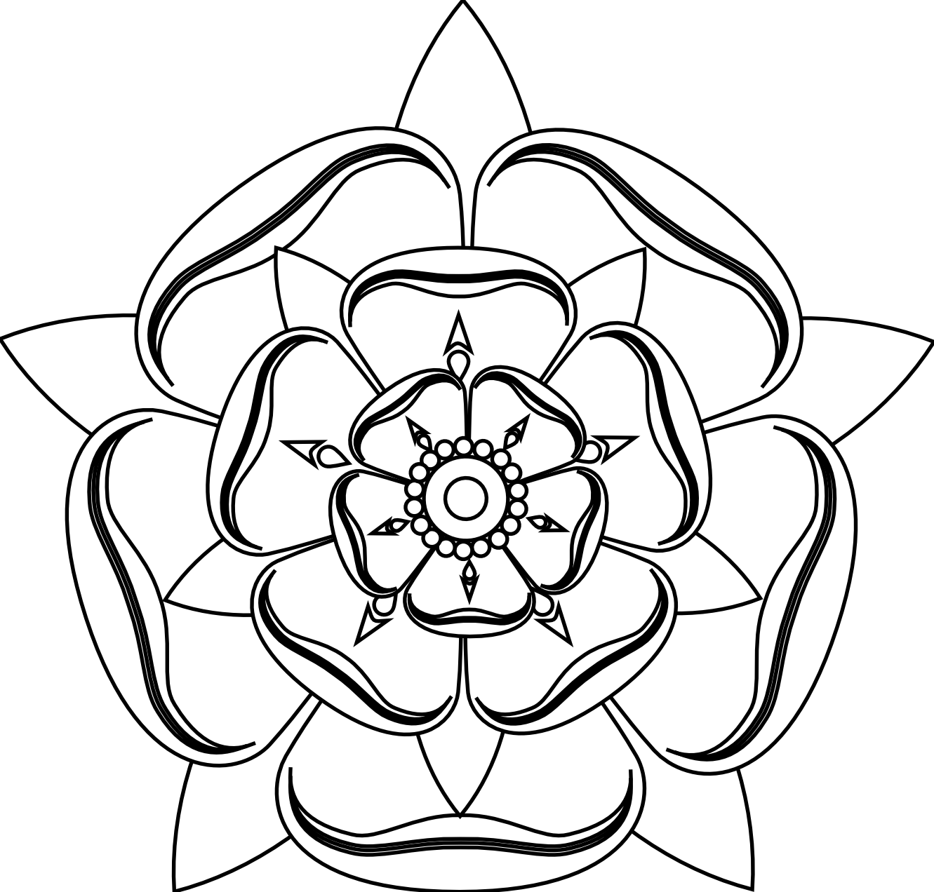 Tudor Rose Black White Line Art Tattoo Tatoo Flower xochi.