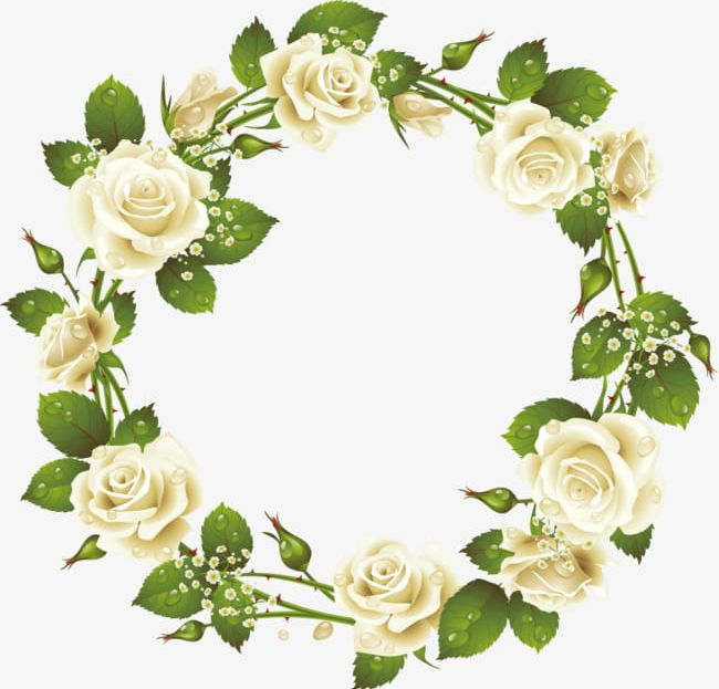 White Roses Wreath Elements PNG, Clipart, Decorative.