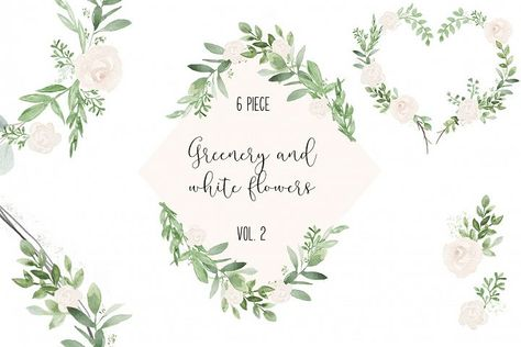 Greenery and white wedding watercolor clip art Illustrations.
