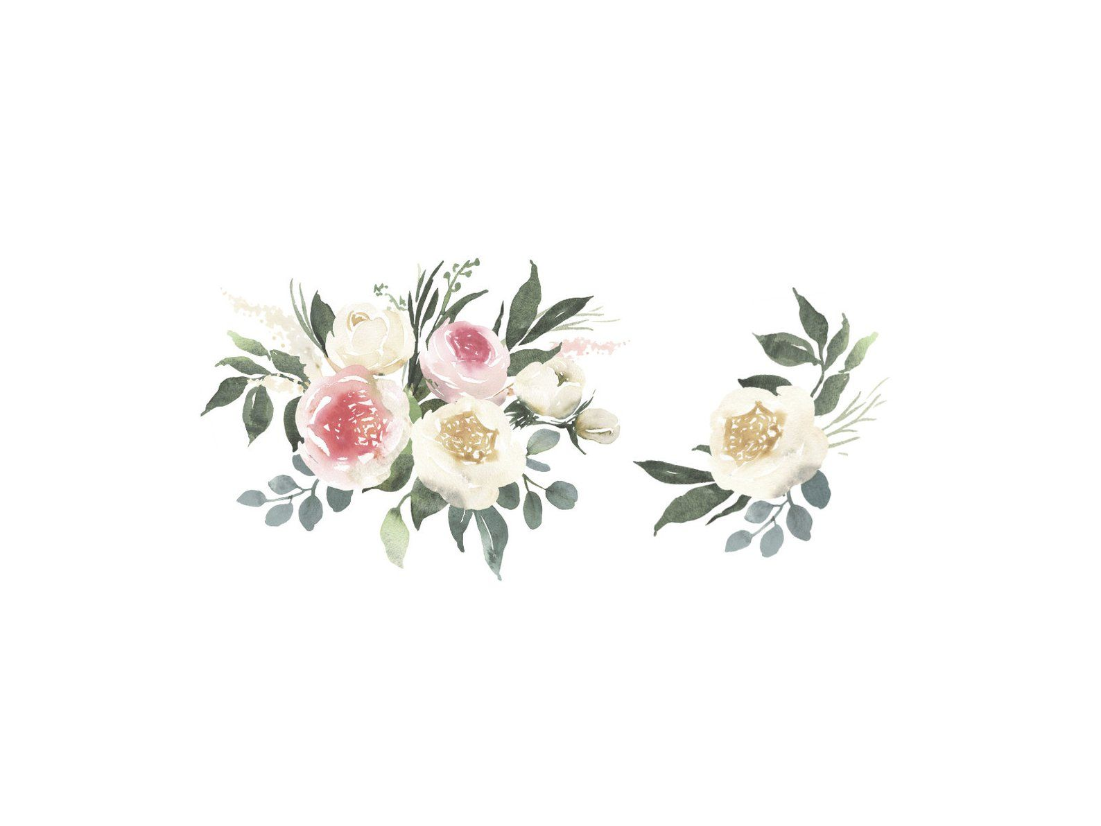 Adelaide watercolor clipart with white and blush roses and.