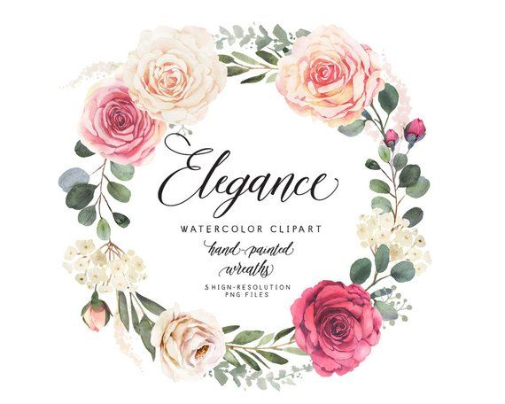 Elegant watercolor clipart with roses and eucalyptus.