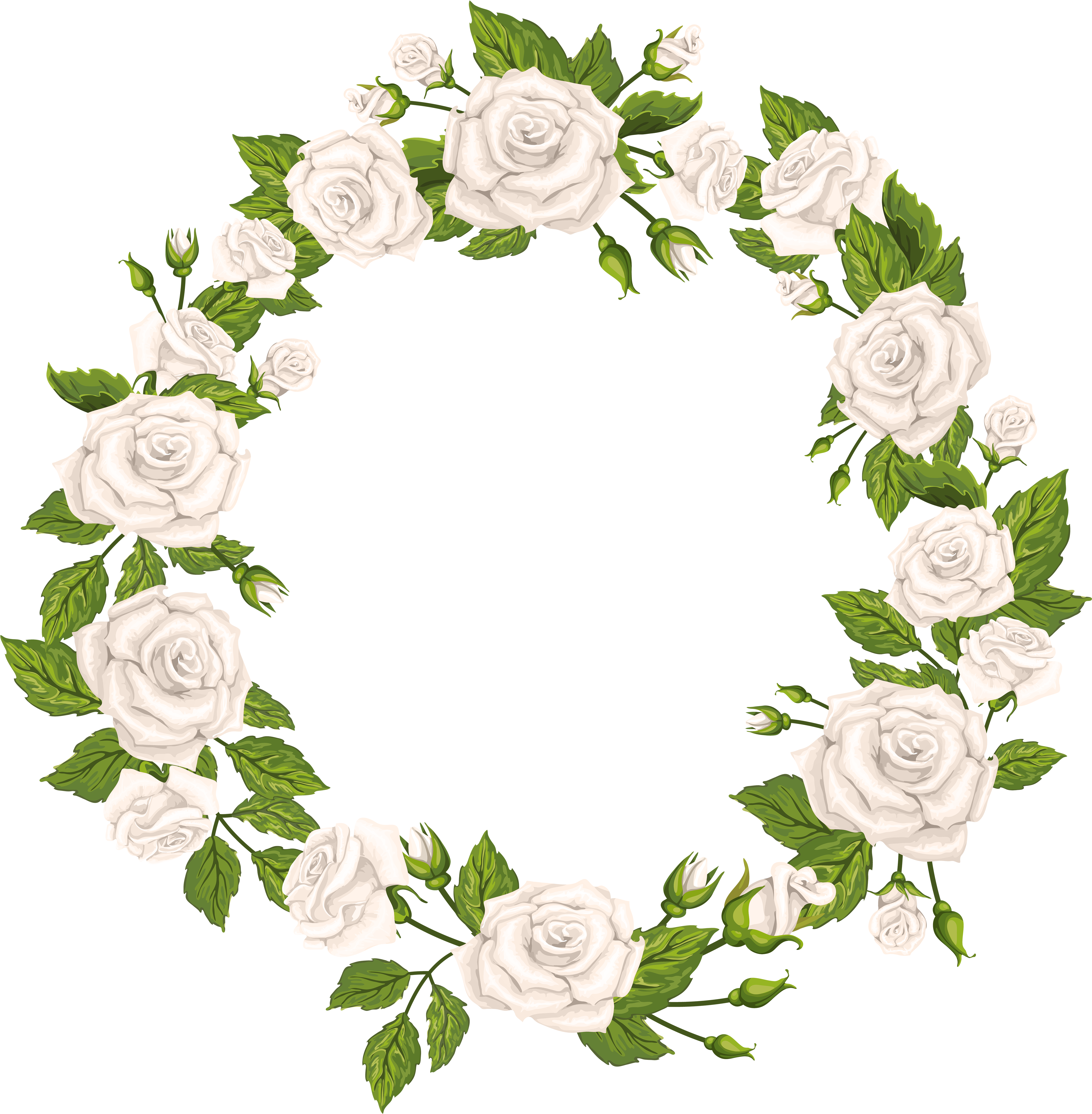 White Rose Wreath Png Clipart.