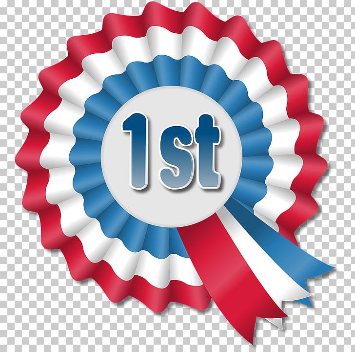 Rosette Blue ribbon Award, white ribbon PNG clipart.