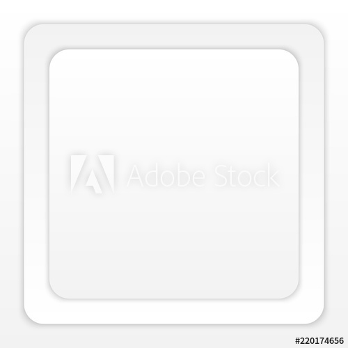 White Paper Round Square with Shadow on White Background.