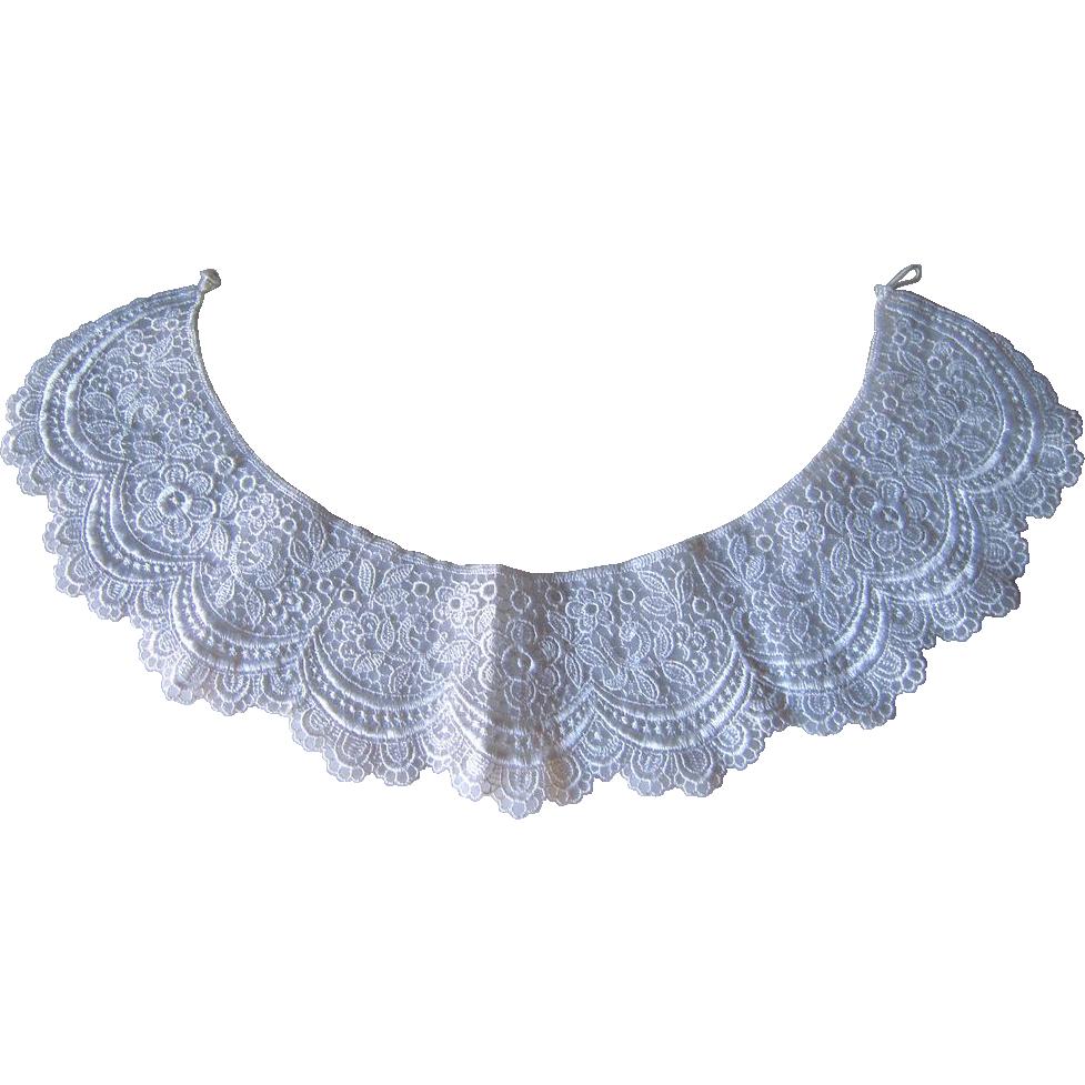 white lace collar.