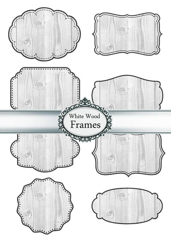 Digital Frames Labels Tags Clipart Paper Texture Wood Rustic.