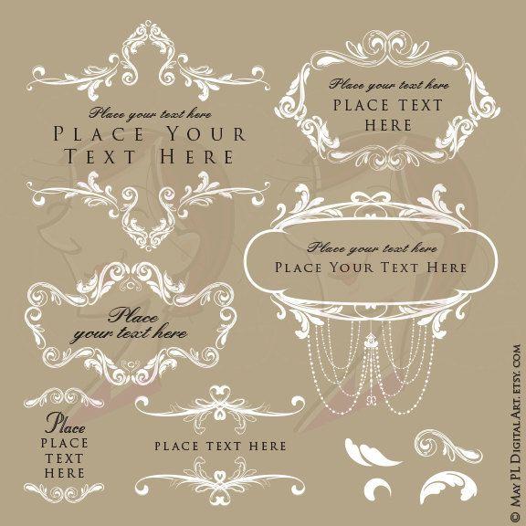 Wedding Floral Clipart DIY Invitation, Signs, Favors.