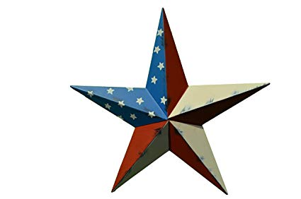 24 Inch Rustic American Americana Flag Barn Star Made with Galvanized Metal  to Prevent Rusting. Amish Hand Made Your Source for Heavy Duty Metal Tin.