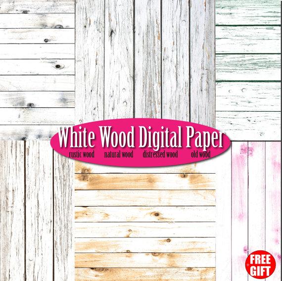 White wood digital paper rustic wood wall art scrapbook Wood.