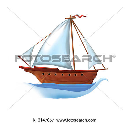 Stock Illustration of Sailing boat with white sails k13147857.