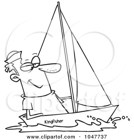 Sail clipart black and white.