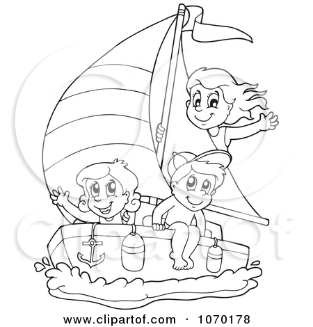 Clipart of a Parchment Scroll Page of Children Sailing.