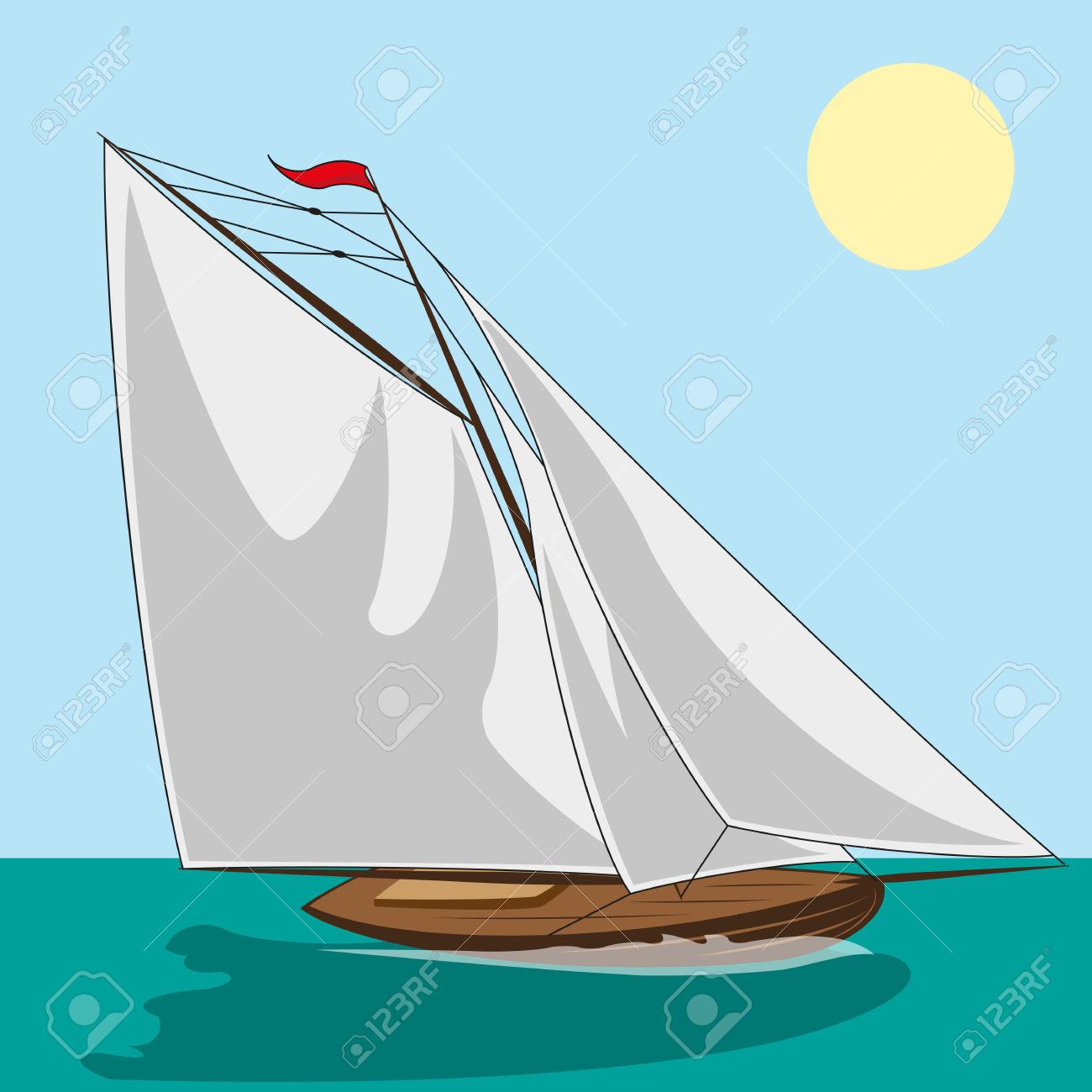 Yacht With White Sails. Illustration Clip Art Royalty Free.