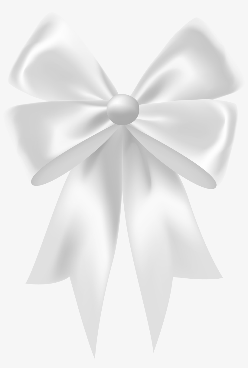 White Satin Bow Clip Art Image.