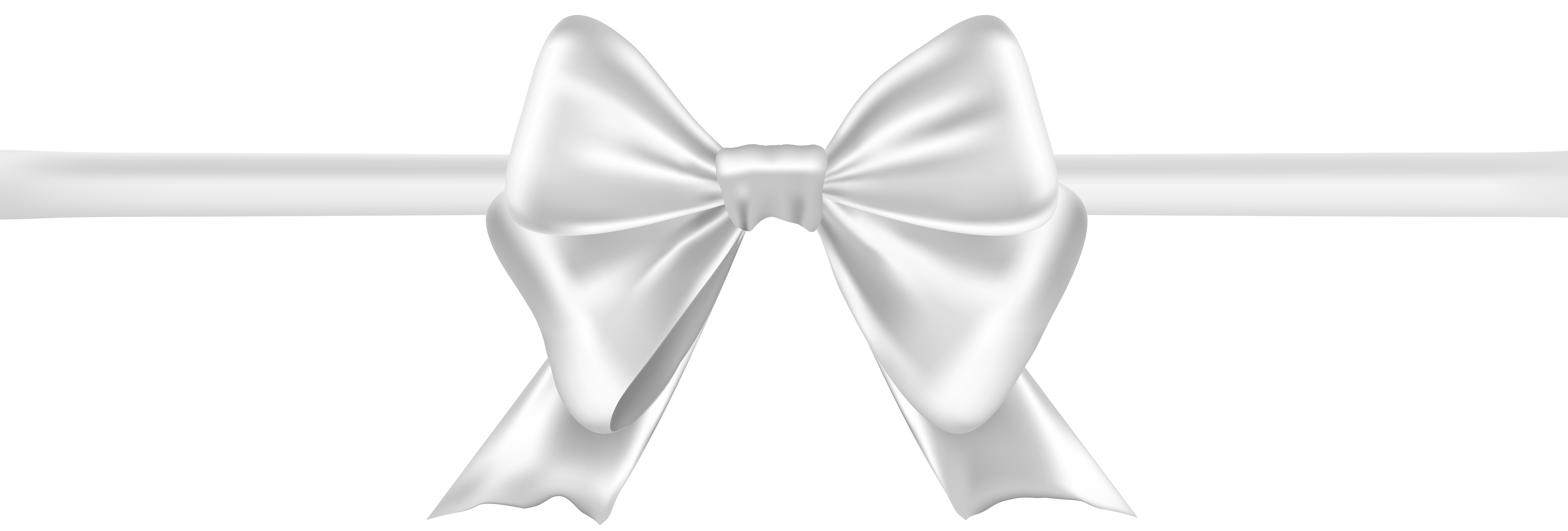 Bow White Transparent Clip Art Image.