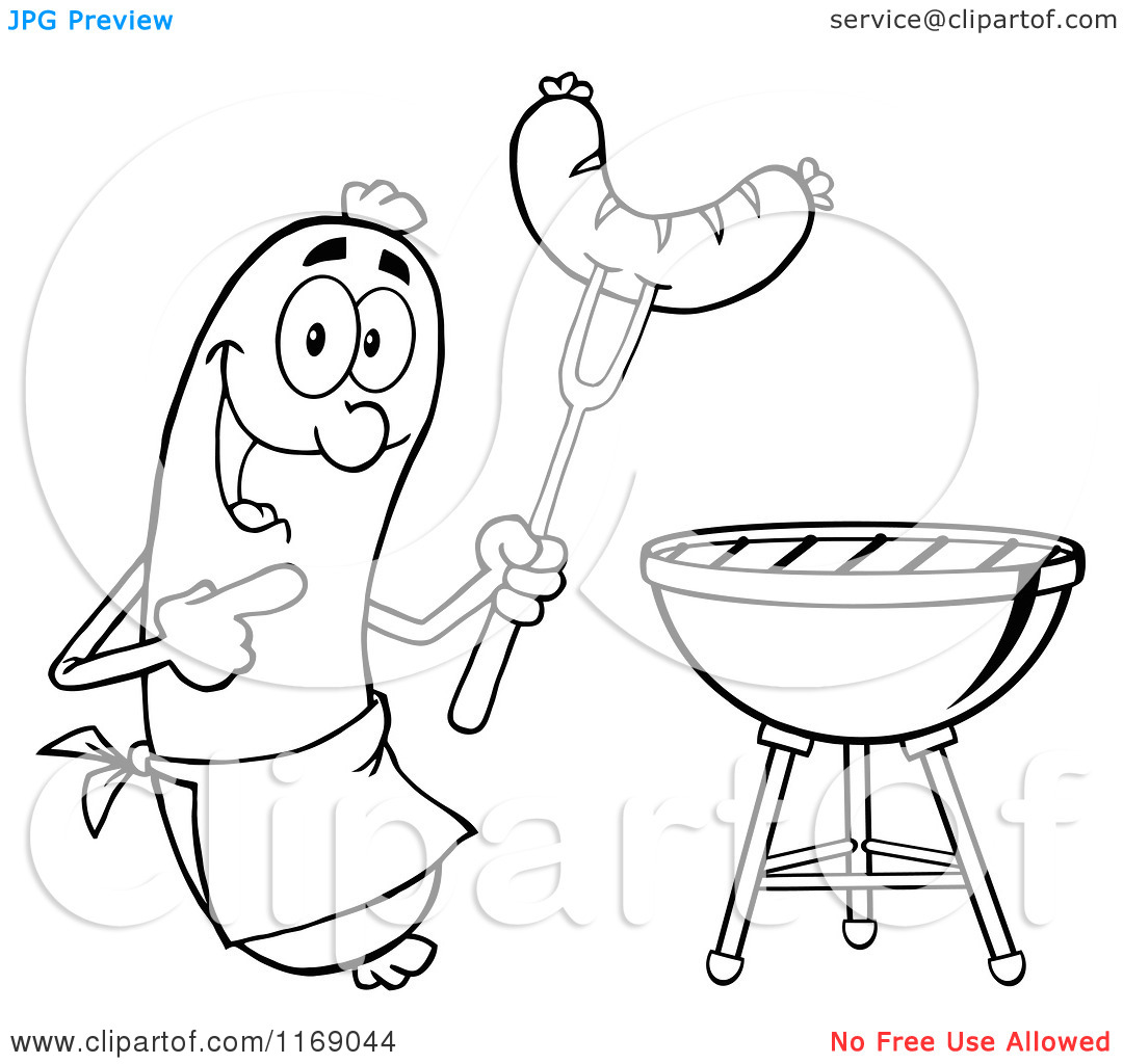 Cartoon of a Black and White Sausage Cook Mascot Pointing to a.