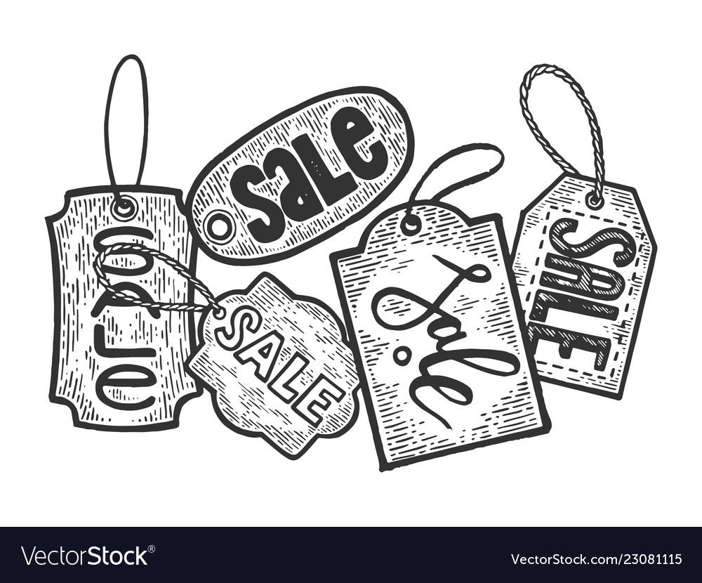 Sale tag label engraving.
