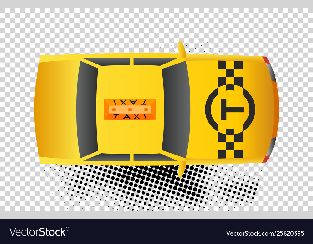 Taxi car top view icon yellow taxicab sedan with.