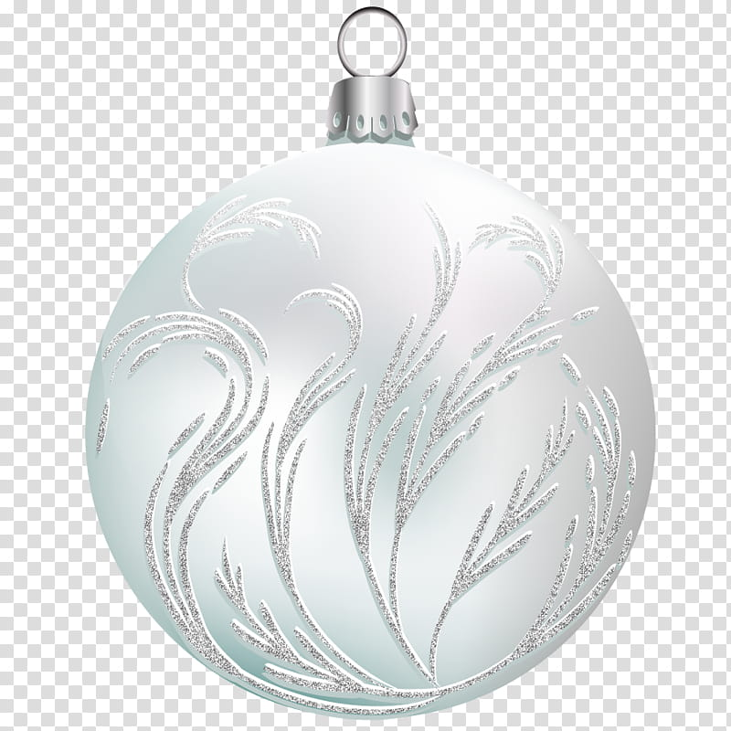 Xmas Balls on , white bauble transparent background PNG.