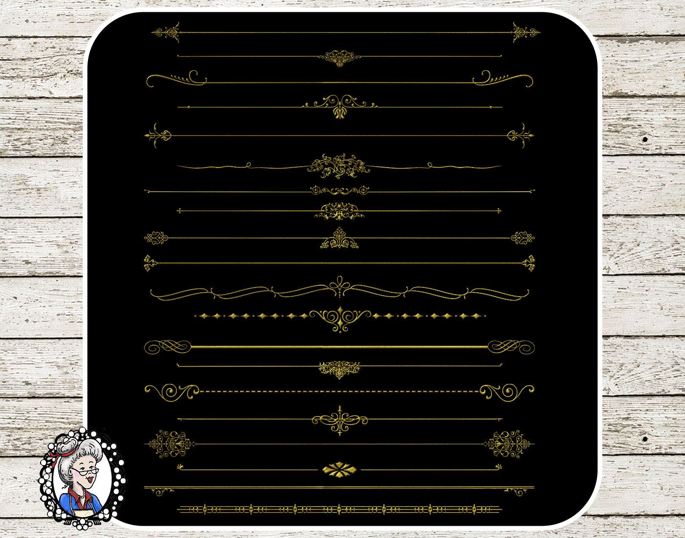 Clipart: Text Divider in Black / Gold / Silver Ornaments.