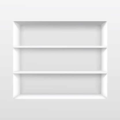 Vector White Empty Shelf Shelves Isolated on Wall Background.