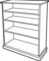 Book Shelf Black And White Clipart.