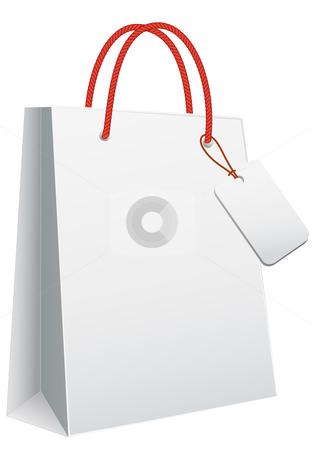 White shopping bag stock vector.