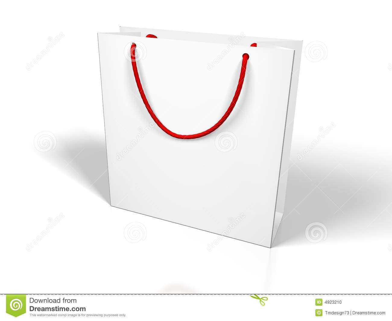 White Paper Bag Red String Handle Stock Illustrations.
