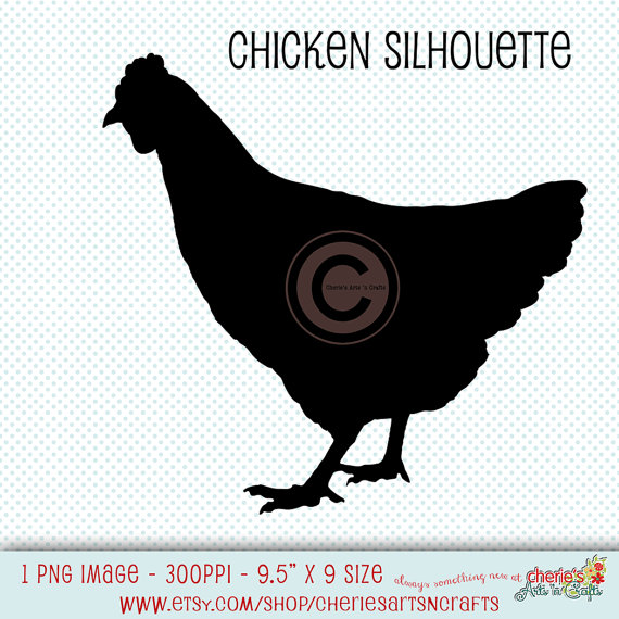 Chicken Silhouette, Chicken Clip Art, Chicken Graphics, Chicken.