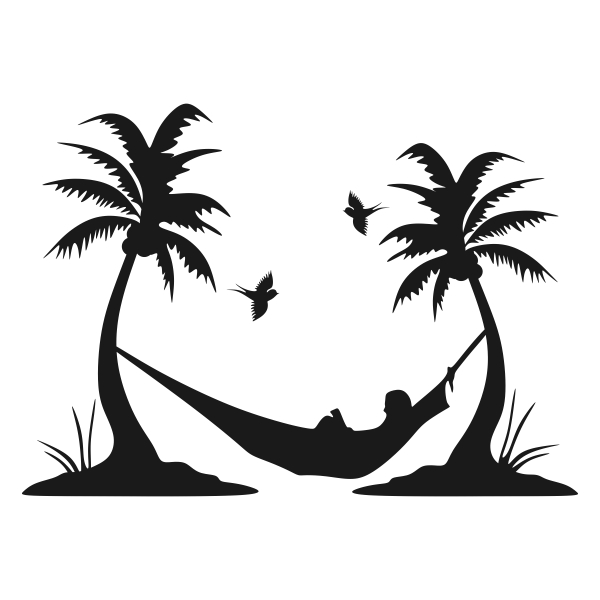 Palm Tree And Hammock Silhouette.