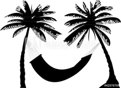 Silhouette of hammock under the palm trees.