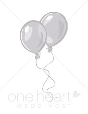 Silver Balloons Clipart.