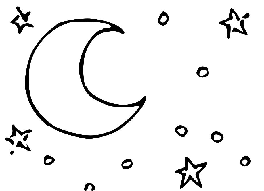 Black and white night sky clipart.