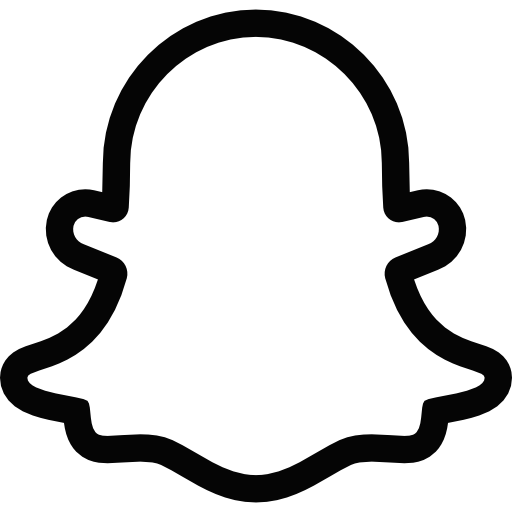 Snapchat Ghost Logo Black and White transparent PNG.