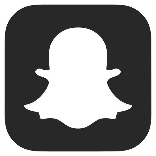 Black and white, dark grey, snapchat icon.