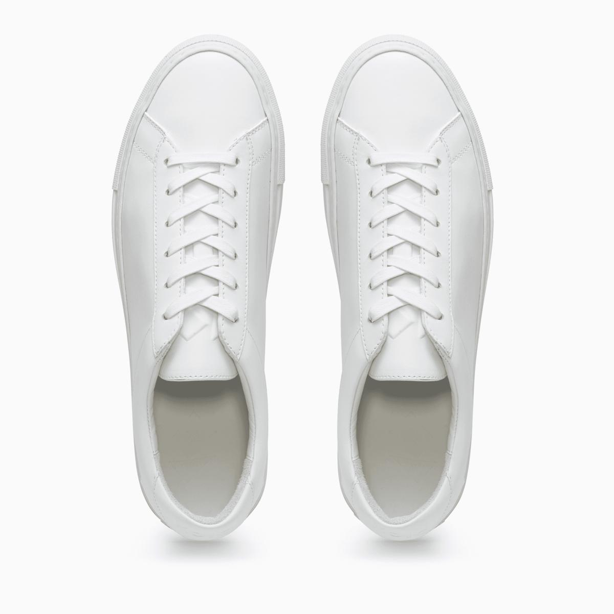 Men's Low Top Leather Sneaker in White.