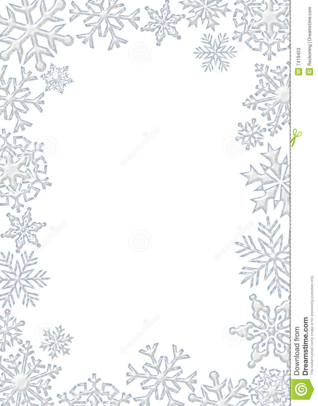 White Snowflake Border Clipart.