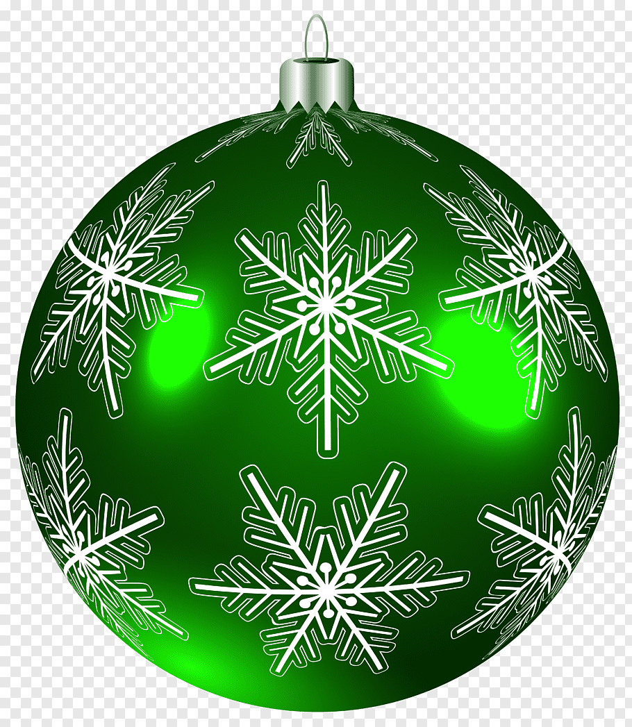 Green and white snowflakes bauble illustration, Christmas.