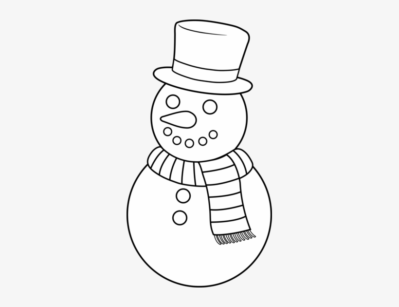 Black And White Snowman Clipart PNG Image.