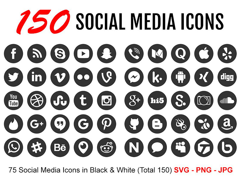 150 Black And White Social Media Icons by Icons by Alfredo on Dribbble.