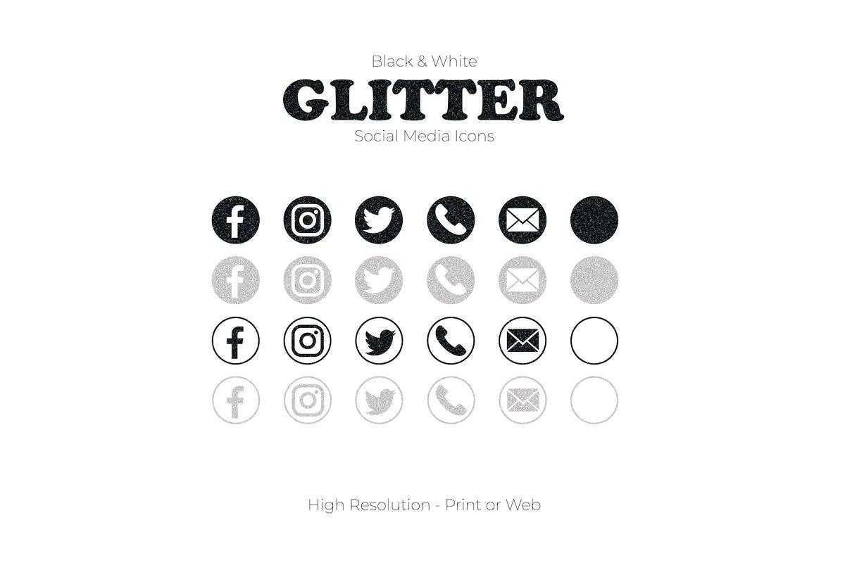 Glitter Black & White Social Media.