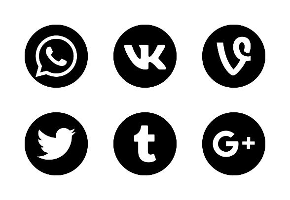 2018 Social media black and white logos icons by Anton D.