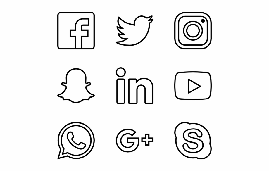 Social Media Icons White Png.