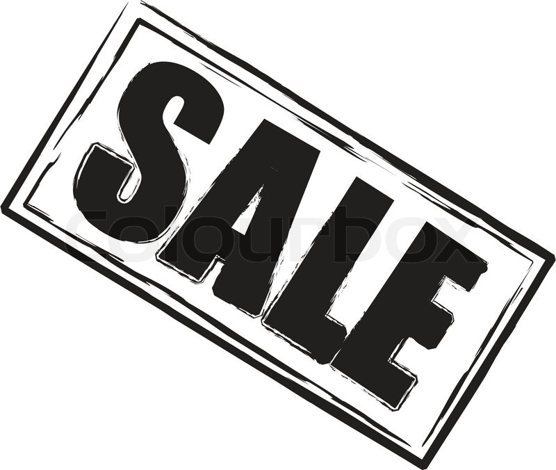 A sale stamp in black and white oblong.