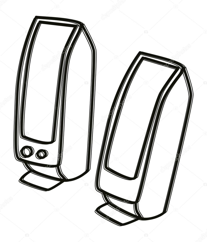 Computer Speaker Clipart Black And White.