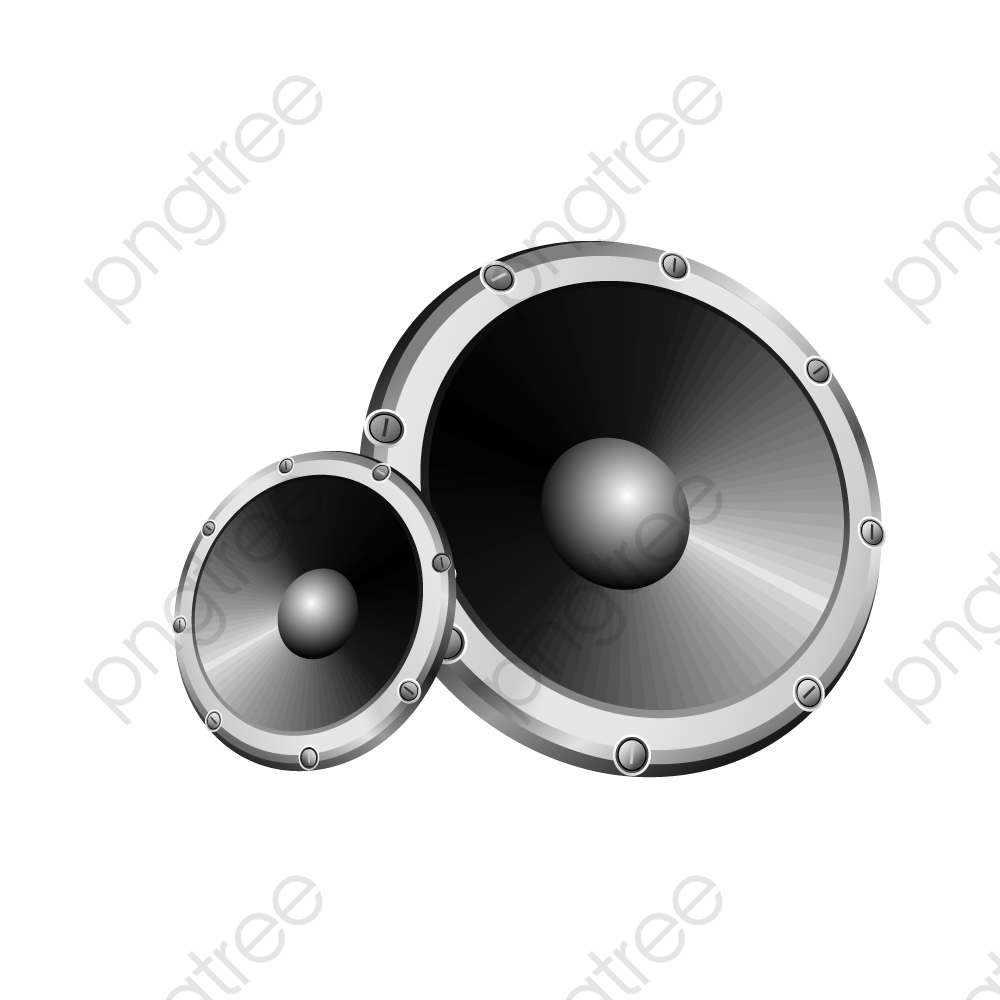 Black And White Stereo Speakers, Black Vector, Black And White.