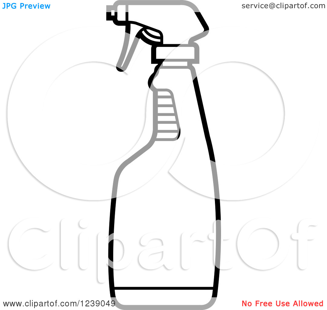 Clipart of a Black and White Spray Bottle.