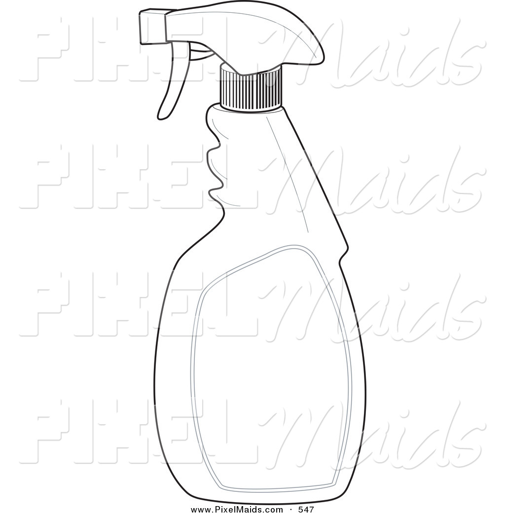 Clipart of a Black and White Spray Bottle Outline Design by.