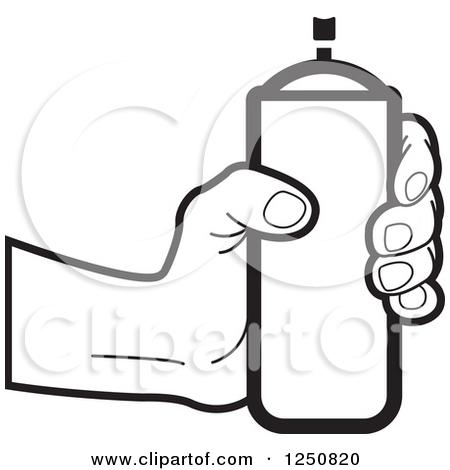 Clipart of a Black and White Hand Holding out a Can of Spray Paint.