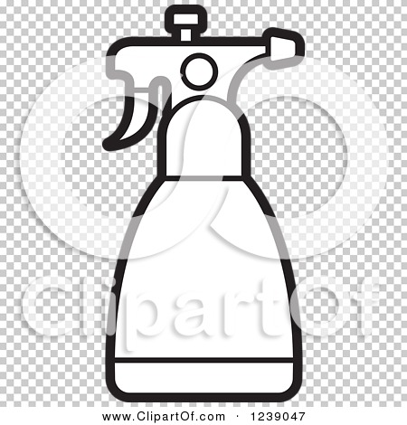 Clipart of a Black and White Spray Bottle 4.